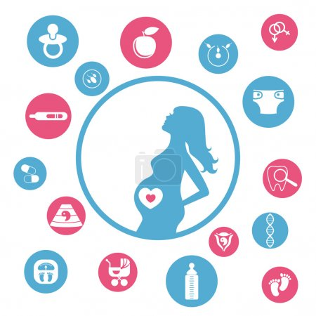 Pregnancy and newborn baby icons set.