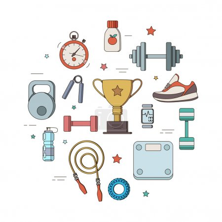 set of illustrations for a fitness tool