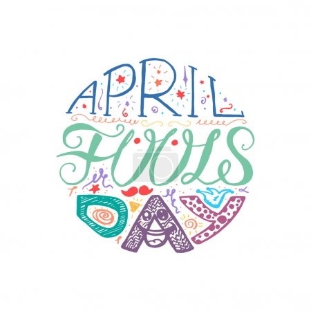 Illustration for April Fools Day  Hand Drawn Lettering with smile,  jester hat and mustache for print, poster, web, greeting card, illustrations. Vector - Royalty Free Image