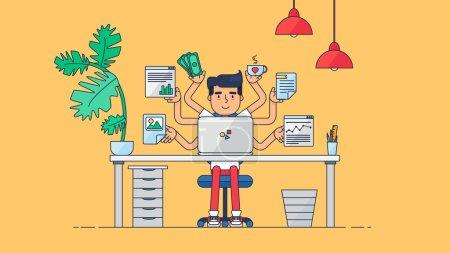 Illustration pour Espace de travail d'un développeur professionnel, d'un programmeur, d'un administrateur système ou d'un concepteur avec bureau, chaise, ordinateur portable Projet d'entreprise ou concept de démarrage. Lieu de travail des employés. Vecteur - image libre de droit