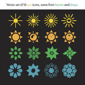 Vector set of 16 sun icons some from leaves and drops nature logo ecology