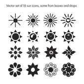 set of 16 sun icons