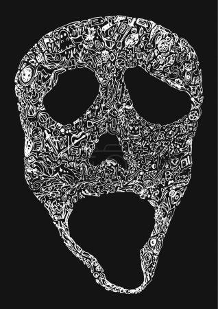 Illustration pour Crâne de différents icônes vecteur - image libre de droit