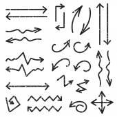 Vector black set of 26 hand drawn arrows