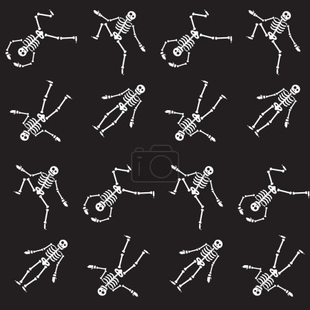 Illustration for Happy Halloween skeleton seamless pattern, zombie from bones and skull. Vector - Royalty Free Image