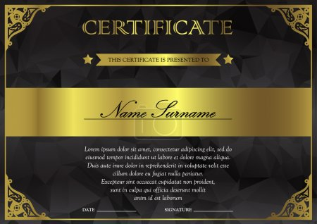 Illustration for Horizontal black dark and gold certificate and diploma template with vintage, floral, filigree and cute pattern for winner for achievement. Blank of award coupon. Vector - Royalty Free Image