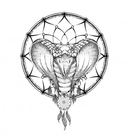 Illustration pour Guerrier indien Cobra, illustration animalière dessinée à la main, affiche amérindienne. Vecteur de dessin à la main - image libre de droit