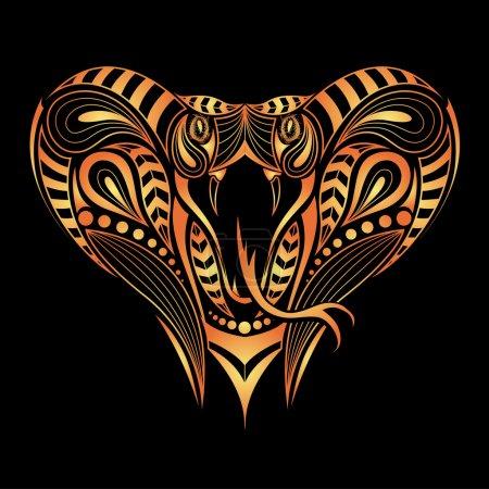 Illustration pour Tête colorée à motifs du roi Cobra. Tatouage africain, indien - image libre de droit