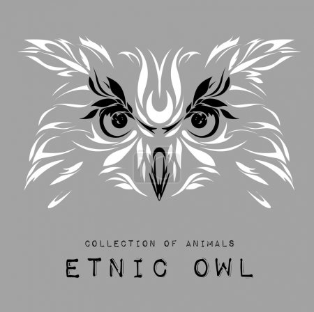 Ethnic patterned white head of owl on the grey background / african / indian / totem / tattoo design. Use for print, posters, t-shirts. Vector illustration