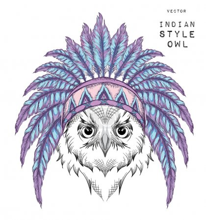 Owl in the Indian roach. Indian feather headdress of eagle. Hand draw vector  illustration
