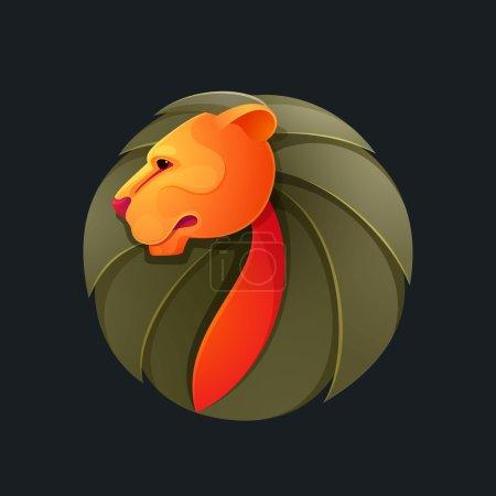 Lion head volume vector logo.