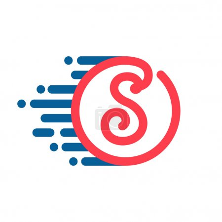 S letter logo in circle with speed line.