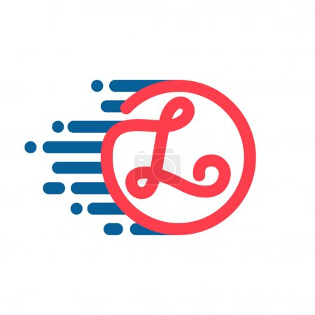 L letter logo in circle with speed line.