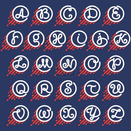 Alphabet letters in circle with speed line.