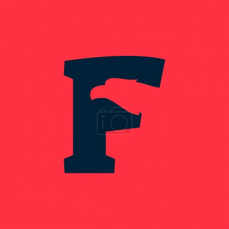 F letter logo with eagle negative space.