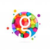 G letter logo in circle with rainbow dots