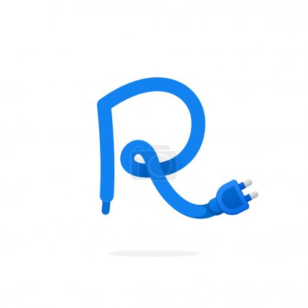 R letter logo formed by plug cable.