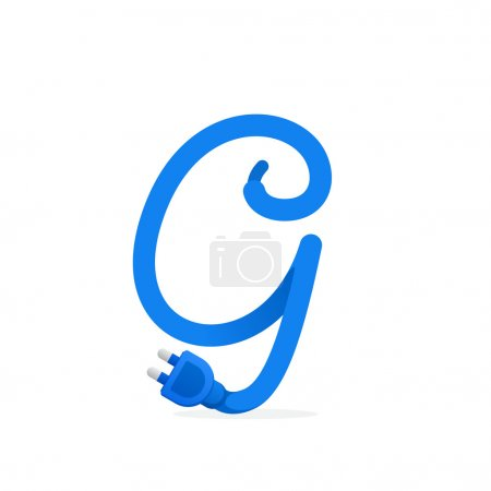G letter logo formed by plug cable.