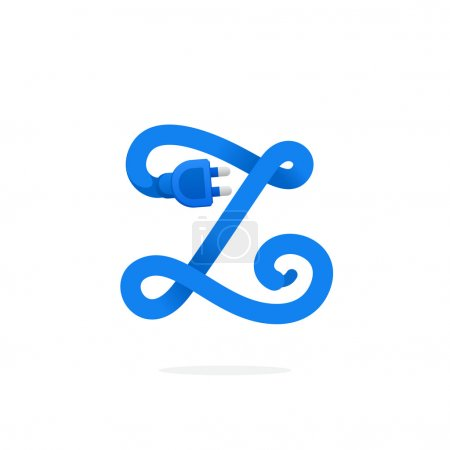 Z letter logo formed by plug cable.