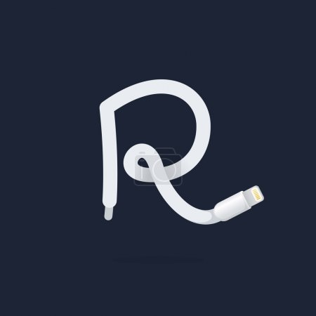 R letter logo formed by lightning cable.