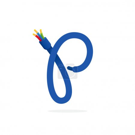 P letter logo formed by electric cable.