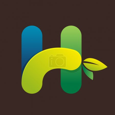 H letter logo with green leaves.