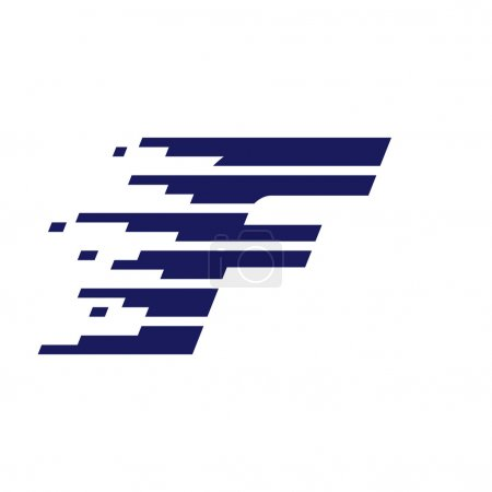 F letter logo with fast speed lines.
