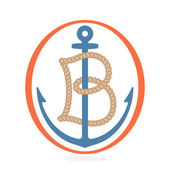B letter logo formed by rope with an anchor