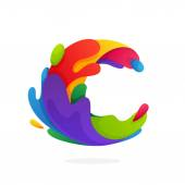 C letter logo with colorful juice splashes