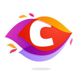 Letter C logo in flame intersection icon Colorful vector letter for app icon corporate identity card labels or posters