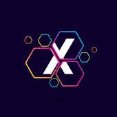 Písmeno X logo v šestihranných vzor