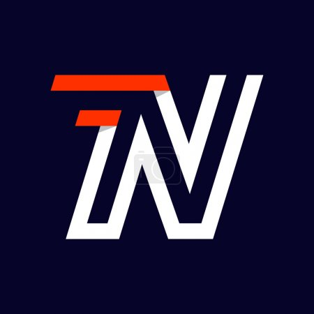 Fast speed two lines letter N logo on black. Sport elements for sportswear, t-shirt, banner, card, labels or posters.