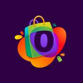 Number zero logo in shopping bag icon and Sale tag