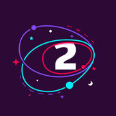 Number two logo in space orbits stars and planets
