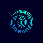 Number zero logo with fingerprint line