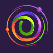 Number zero logo with atoms orbits