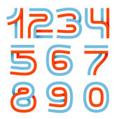 Numbers set logos formed by parallel lines