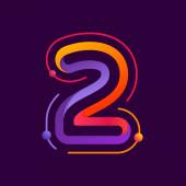 Number two logo with atoms orbits