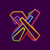 Letter X logo formed by colorful neon lines