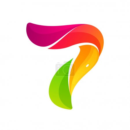Number seven logo formed by colorful twisted lines.