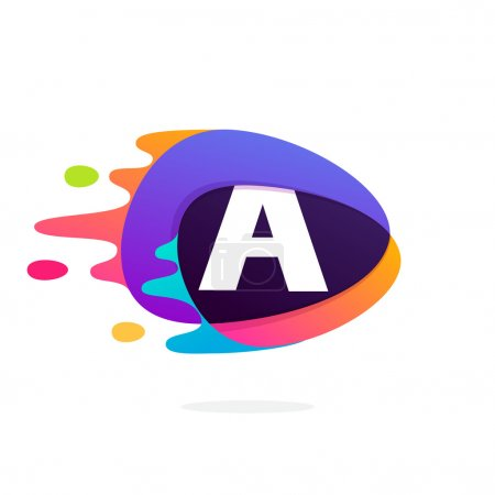 Letter A logo in triangle intersection icon with fast speed line