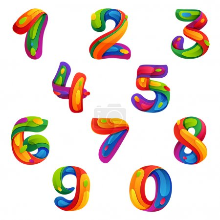 Numbers set in volume splash style