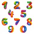Numbers set in volume splash style, vector design template elements