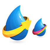 Drops of water with ribbon and arrow icon