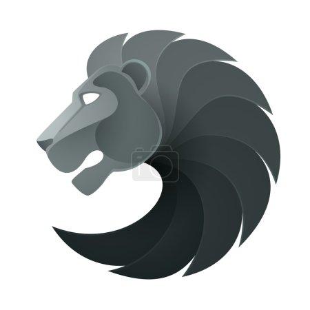 Illustration for Black lion head volume logo vector isolated on white background - Royalty Free Image