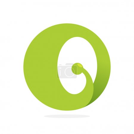 Illustration for Ecological company O letter green logo icon - Royalty Free Image