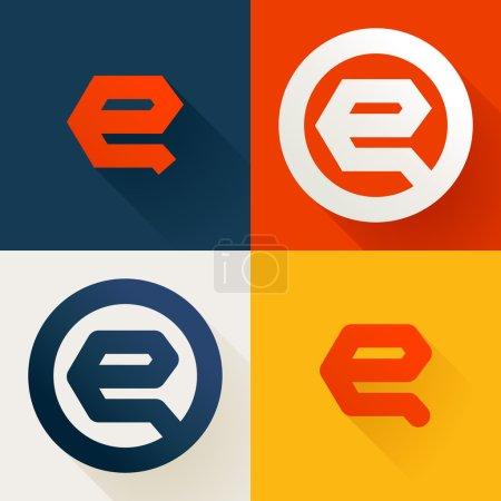 E letter line logo set