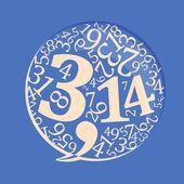 Pi number in speech bubble vector illustration