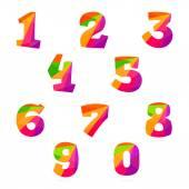 Numbers set in polygonal crystal style