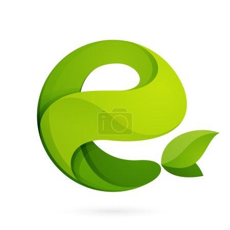 Illustration for E letter eco logo, volume icon isolated on white background - Royalty Free Image